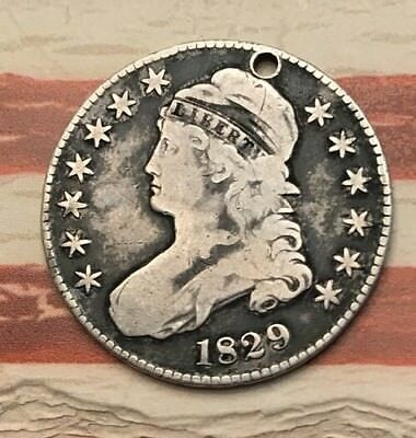1829 50C Capped Bust Half Dollar 90% Silver Vintage US Coin #1HX Nice Looker