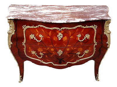 FRENCH Bronze Mounted Marble top Louis XV Chest Inlaid Server Buffet Commode