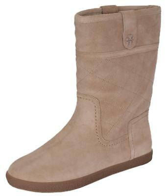 b8710577652c6 NEW Tory Burch Women s Suede Shearling Camel Mid Calf Winter Snow Boots  Shoes
