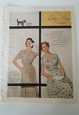 1955 Nelly Don extra women's French print dress Jean Patchett vintage fashion ad