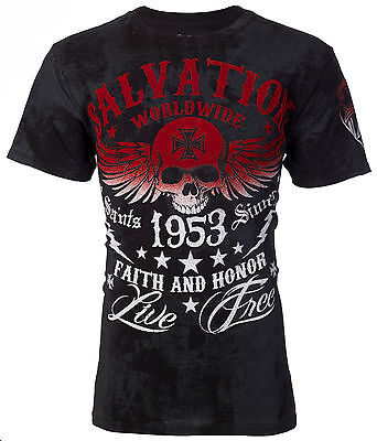 ARCHAIC by AFFLICTION T-Shirt BLACK TIDE Skull Tattoo Motorcycle Biker UFC $40 d