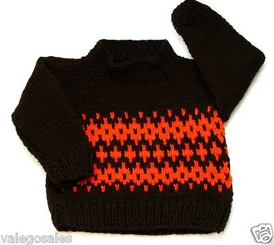 Fair Isle Knitted Sweater Jumper for Baby Toddler 12 - 24 mo. Brown Color #108