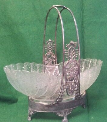 Antique Victorian Aesthetics Silverplate Basket & Eapg Shell & Tassel Bowl