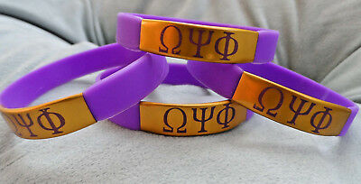 NEW! 4 PACK: OMEGA PSI PHI ARMBAND WRISTBAND: Metal Accent Purple & Gold!