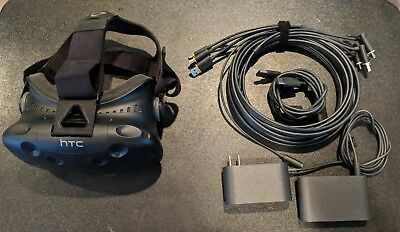 HTC Vive VR Virtual Reality headset with cables and link box