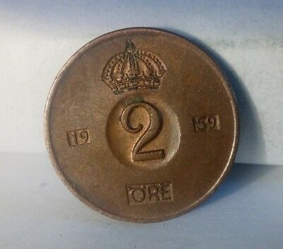 Sweden 2 ore 1959 , Extreme Fine  (A349) ***FREE SHIP***