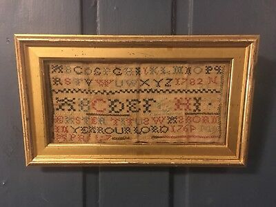 Rare 18th C  Schoolgirl Needlework Sampler, Dated 1782