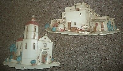 Vintage 2X  Burwood MEXICAN VILLAGE   Made USA wall hanging,PLASTIC
