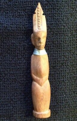 Hand Carved Kayan/Ndebele? Wood Figure With Metal Neck Rings