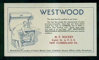 "1915 Hazle Brook Coal Co. ""Westwood Anthracite"" Ad Blotter - New Cumberland,PA"