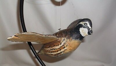 Antique Carved Wood Flying Quail Unusual Style Great Paint