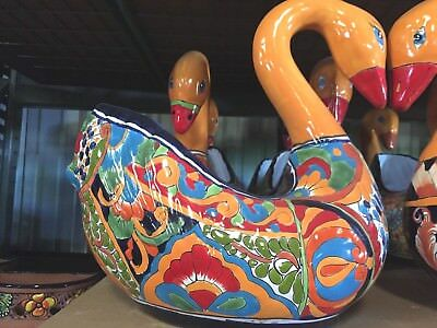 TALAVERA MEXICAN POTTERY - ANIMALS - SWAN PLANTER MED - (Assorted Colors)