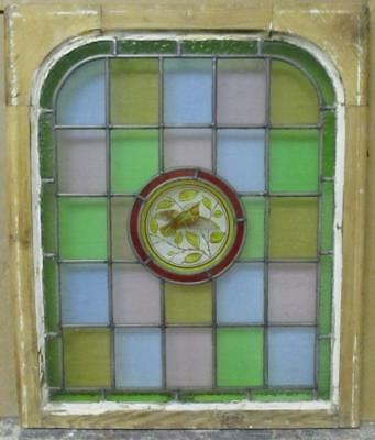 MIDSIZE OLD ENGLISH LEAD STAINED GLASS Victorian Hand Painted Arch 22 x 26.25""