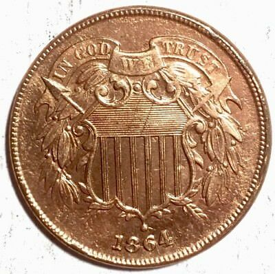 1864- 2 Cent Shield Piece - AMAZING DETAIL - See Pics For Details