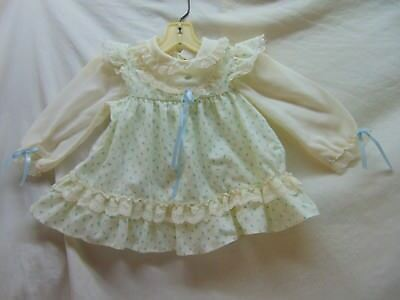 **Vintage** Toddler Girl Size 2T Ivory w/ Blue Flowers Pinafore Style Dress