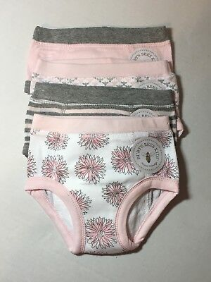 Burts Bees Organic Cotton Set Of 4 Pink & Gray Girls Training Underwear 2T NEW