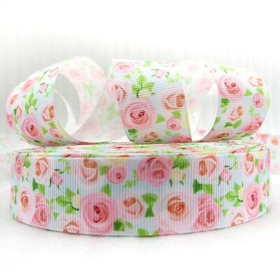 """PINK ROSES ON VERY PALE BLUE - GROSGRAIN RIBBON 25mm / 1""""-1-3mtr"""