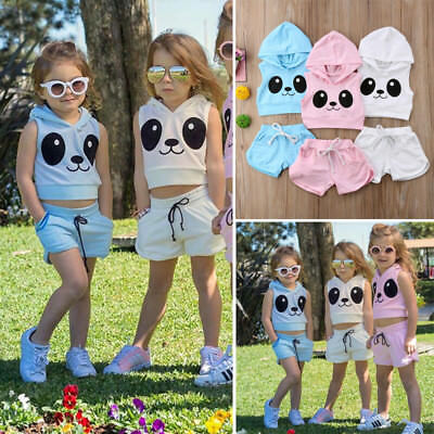 Kids Baby Girls Casual Hooded Top Shorts Sport Suit Tracksuit Outfits Clothes US