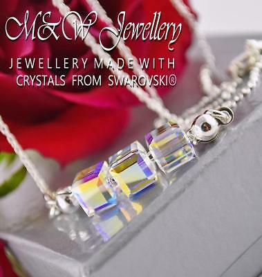 925 Sterling Silver Necklace Crystal AB - CUBE Crystals From Swarovski®
