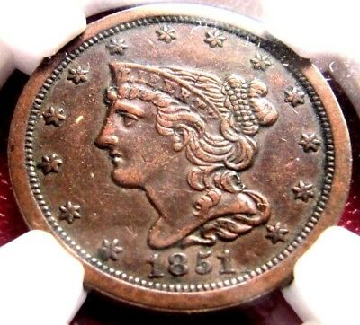 1851 Braided Hair Half Cent, Graded XF40 by NGC!