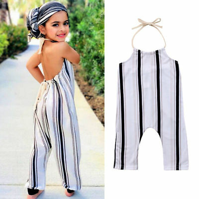 US Cute Toddler Kid Baby Girls Stripe Summer Romper Jumpsuit Outfit Clothes 0-5T