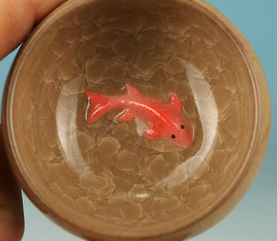 Chinese Porcelain Handmade Carving Fish Collect Tea Cup Bowl Pot