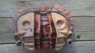 Mexico Aztec Three Ages of Man Clay Large Face Mask 3D Vintage Mayan Pottery
