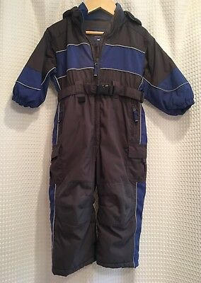 Children's Place~2T 24M~Hooded Thermolite Coverall Snowsuit Bunting~Gray Blue