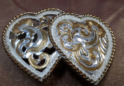 Vintage Crumrine Double Hearts Silver Plated 1980s Women's Belt Buckle