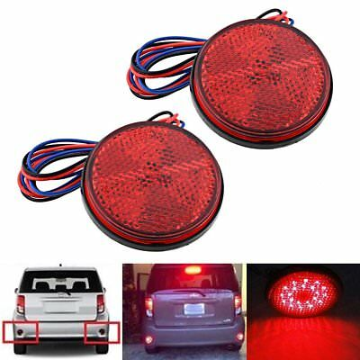 2x Motorcycle Round Red 24 LED Brake Turn Signal Stop Tail Light Lamps Reflector