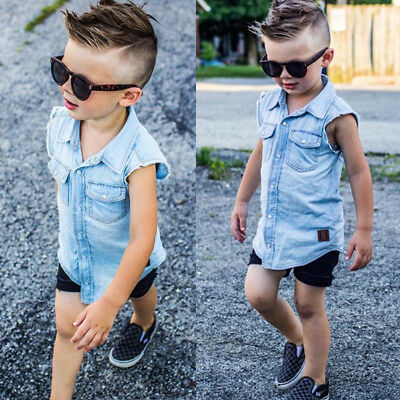 2Pcs Toddler Kids Boy Denim Sleeveless Top T Shirt Shorts Pants Outfits Clothes