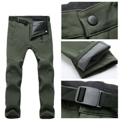 UK Men Thick Fleece Thermal Trousers Tactical Waterproof Cargo Combat Work Pants