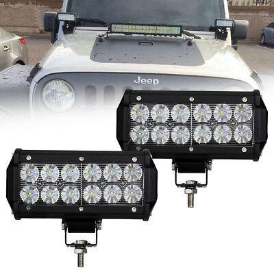 "2X 7Inch Backup Led Work Light Bar Flood Offroad Driving 4WD Truck 6"" Fog Lamp"