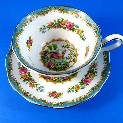 Teal Green Chelsea Bird Royal Albert Tea Cup and Saucer Set