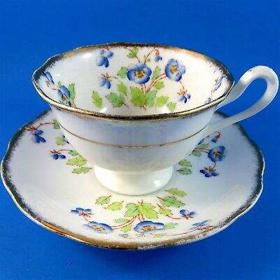 Blue Pansy Royal Albert Tea Cup and Saucer Set (some gold loss)