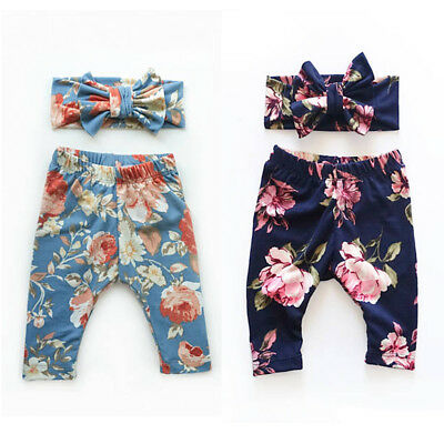 Infant Toddler Baby Girls Floral Print Pants Trousers+Headbands Cute Outfits Set