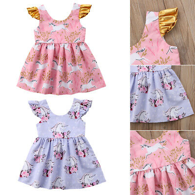 Cute Unicorn Princess Dress Kids Baby Girl Floral Party Cotton Outfits AU Stock