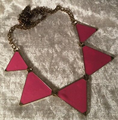 Vintage Retro Glam Geometric Hot Pink Enamel 1980s Statement Necklace