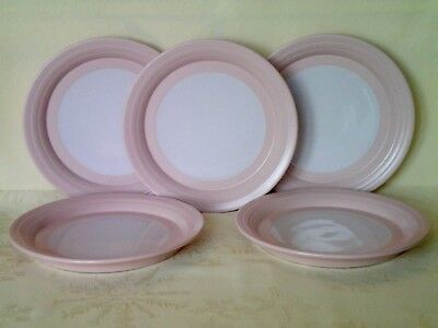 """Hornsea Swan Lake Pink 5 x Side Plates 6.75"""" dia Very Good Condition Vintage"""