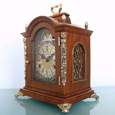 WARMINK CLOCK Mantel TOP! Dutch Moonphase HIGH GLOSS! DOUBLE Bell CHIME! Vintage