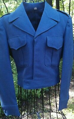 Vintage Short JACKET Military Size 33 S Small Navy Blue Wool