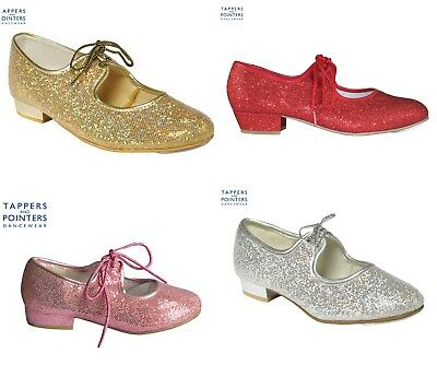 ** LOW HEEL GLITTER TAP SHOES - 4 Colours AVAILABLE - UK STOCK - Fast Delivery**
