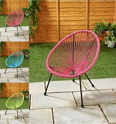 Kids Hawaii String Chair - Pink Blue Lime 52x50x65cm Garden Comfortable Chai NEW