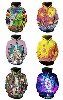 Adult Rick and Morty Cartoon 3D Print Casual Sweater Hoodie Pullover Costume