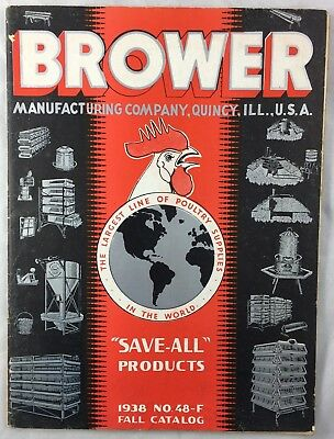 Antique 1938 Catalog Brower Quincy IL Poultry Supplies Breeding Equipment