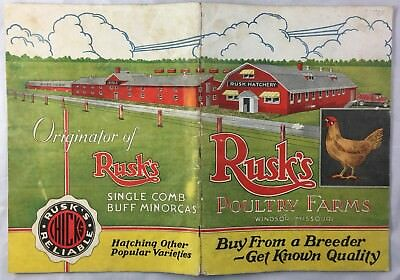 Antique 1933 Catalog Rusk's Poultry Farms Windsor Missouri Agriculture Breeder +