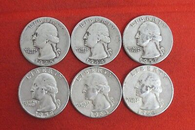 1944 1945 1957 1958D 1963D 1964 Washington Quarter Silver Coin LOT OF 6