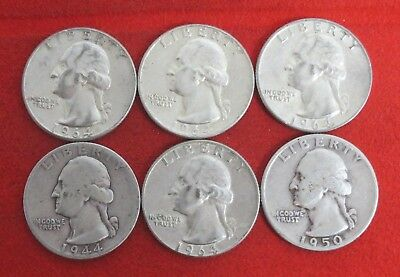 1944  1950 1964 1964D Washington Quarter Silver Coin LOT OF 6