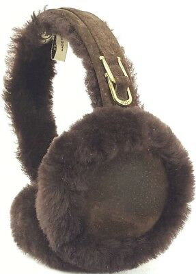 UGG Women's Shearling Suede Ear Muffs OS One Size Fits All Dark Brown EUC