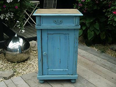 Wow! Old Antique Victorian Painted Pine Pot Cupboard/bedside Cabinet/lamp Table